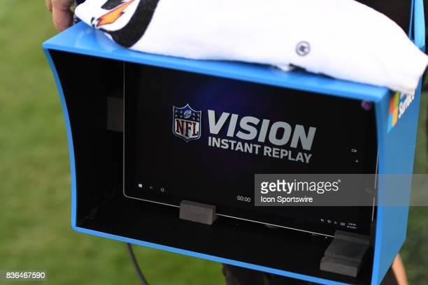 Microsoft Vision instant replay on the sideline during a NFL preseason game between the Buffalo Bills and the Philadelphia Eagles on August 17 2017...
