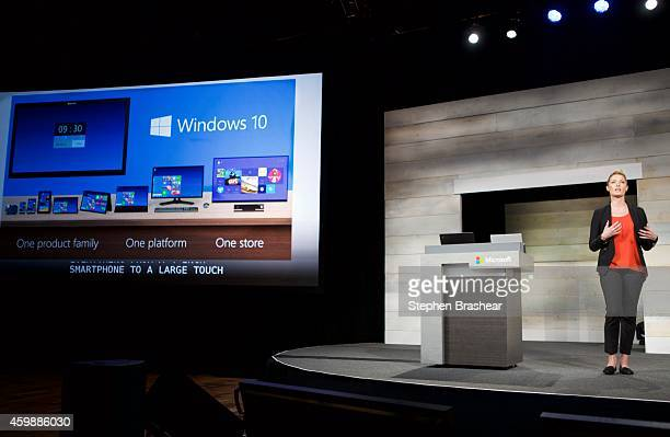 Microsoft's Ashley Frank talks about Windows 10 during Microsoft Shareholders Meeting December 3 2014 in Bellevue Washington The meeting as first...