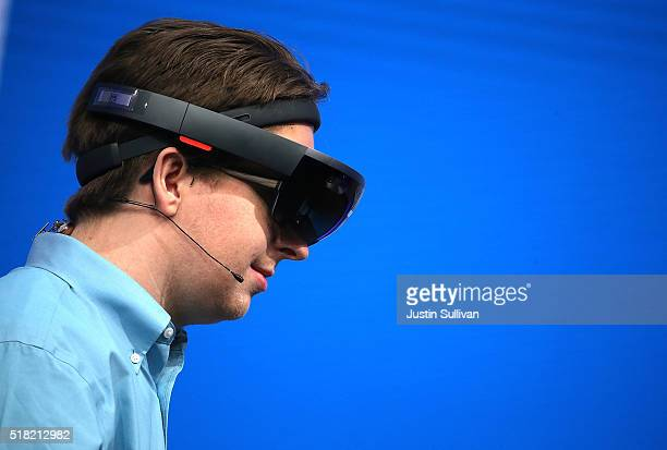 Microsoft's HoloLens is demonstrated during the 2016 Microsoft Build Developer Conference on March 30 2016 in San Francisco California The Microsoft...