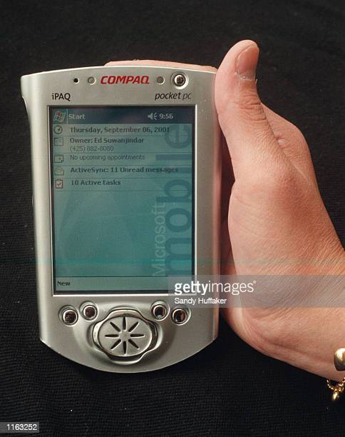 Microsoft's new 2002 Pocket PC is displayed at the Demo Mobile Convention September 6 2001 in La Jolla California The mobile PC should be available...