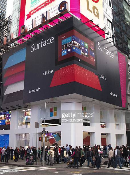 Microsoft's popup store set up on the corner of 46th Street in Times Square to mark the release of its Surface tablet October 26 2012 in New York The...