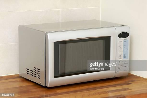 Microwave oven on kitchen worktop