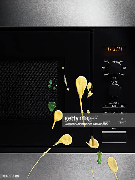 Microwave with yellow and green splatters
