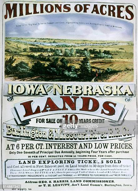 Mid 19th Century advertisement for Iowa and Nebraska Lands for sale on 10 years credit by the Burlington and Missouri River Railroad Company