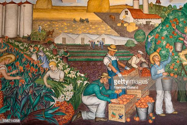 Mid 30's mural painting in the Coit Tower at Telegraph Hills, San Francisco