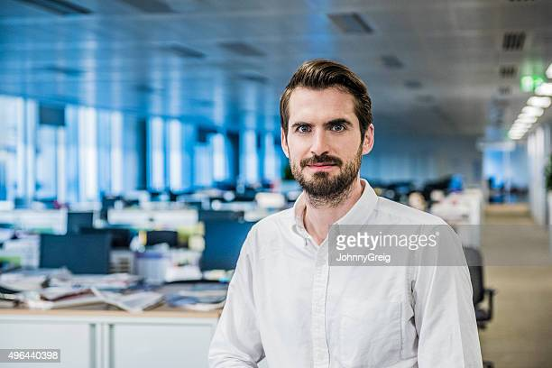 Mid adult businessman with beard in office, portrait