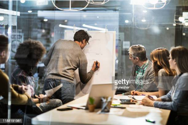 mid adult businessman writing plans during presentation with his colleagues in the office. - employee engagement stock pictures, royalty-free photos & images