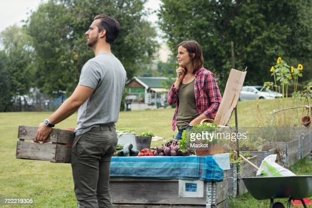 mid adult couple selling vegetables at community garden - durability stock photos and pictures