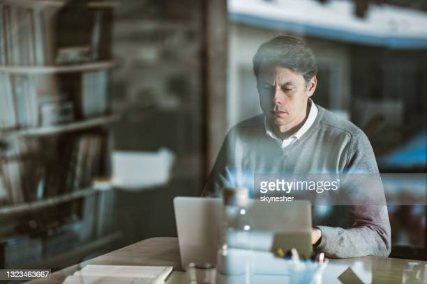 mid adult entrepreneur working on a computer at home office. - economist stock pictures, royalty-free photos & images