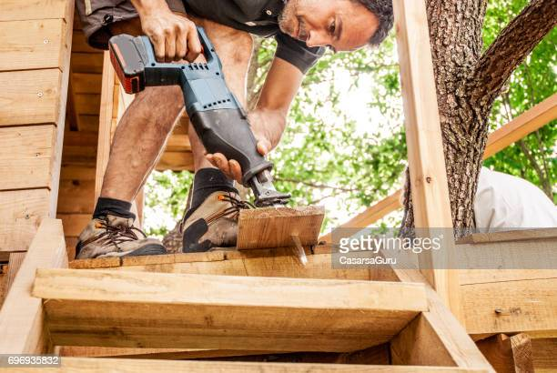 Mid Adult Man Building Wooden Tree House