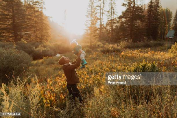 mid adult man holding up toddler daughter in rural valley at sunset, mineral king, california, usa - genderblend stock-fotos und bilder