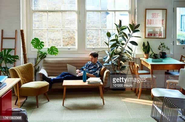 mid adult man on sofa using laptop in modern office - one mid adult man only stock pictures, royalty-free photos & images