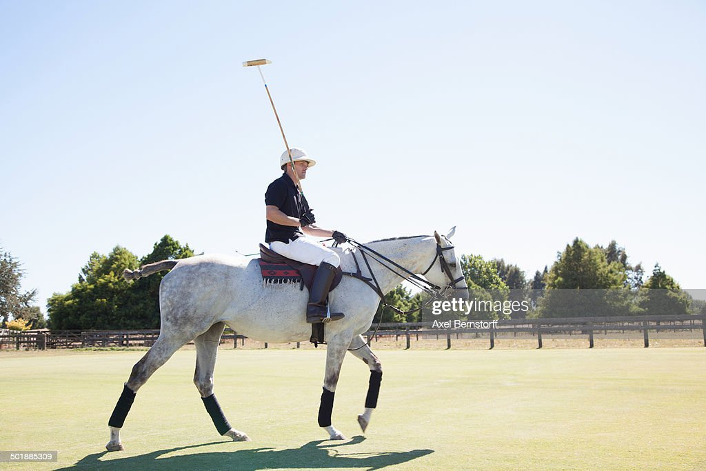 Mid adult man playing polo : Stock Photo