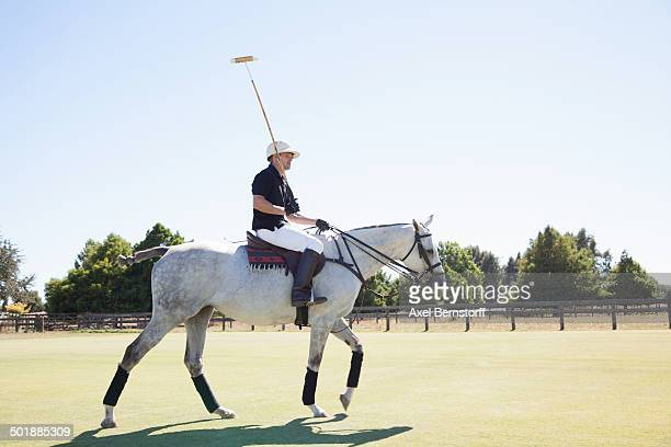 mid adult man playing polo - polo stock pictures, royalty-free photos & images