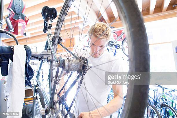 mid adult man repairing bicycle, view through wheel - sigrid gombert stock pictures, royalty-free photos & images