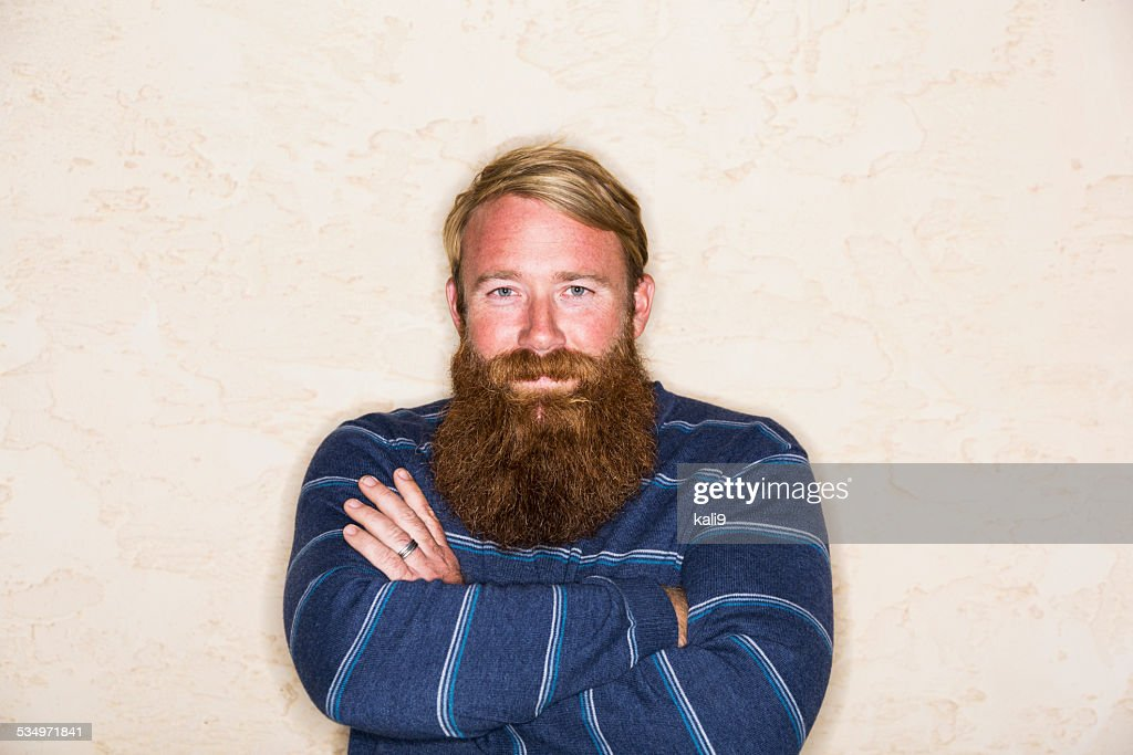 Mid adult man with a long beard : Stock Photo