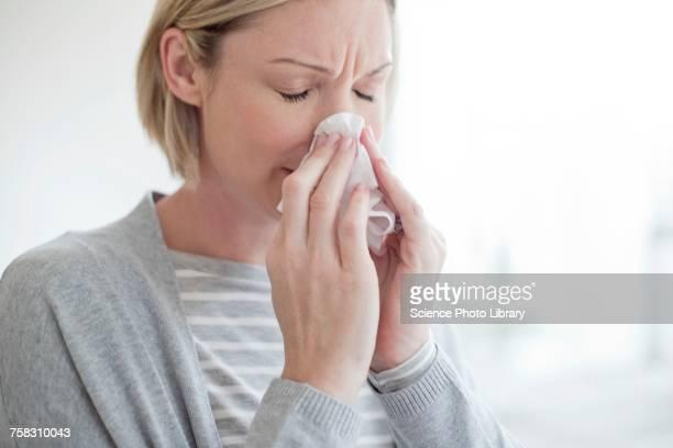 mid adult woman blowing her nose - sonarse fotografías e imágenes de stock