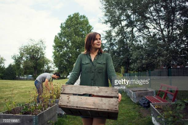 Mid adult woman carrying crate while man planting in background at urban garden