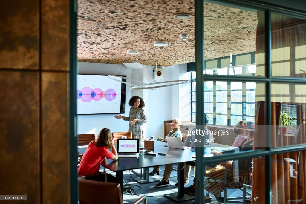 Mid adult woman delivering meeting in board room : Stock Photo