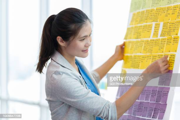 Mid adult woman develops business strategy