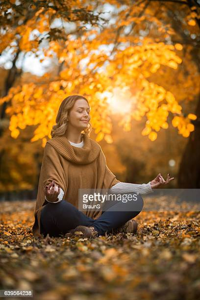 Mid adult woman enjoying in Yoga relaxation exercises in nature.