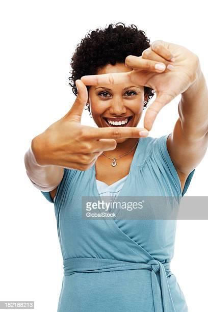meados mulher adulta balançando um bastão mão quadro com fundo branco - dedos fazendo moldura - fotografias e filmes do acervo