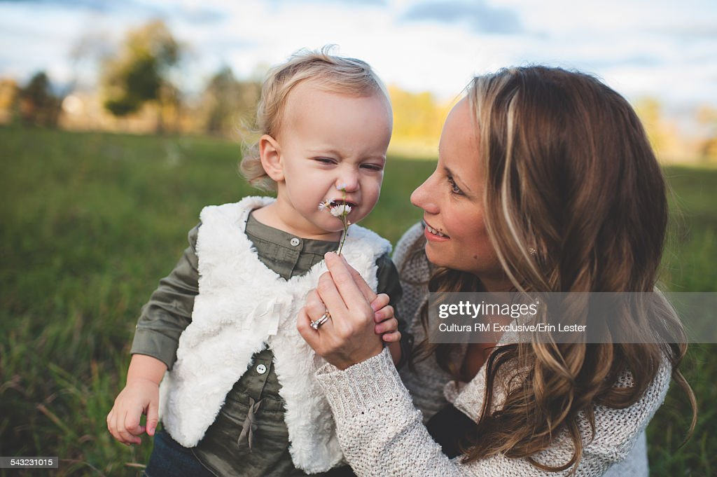 Mid adult woman holding up daisy for toddler daughter in field : Stock Photo