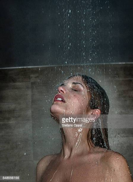 Mid adult woman in shower