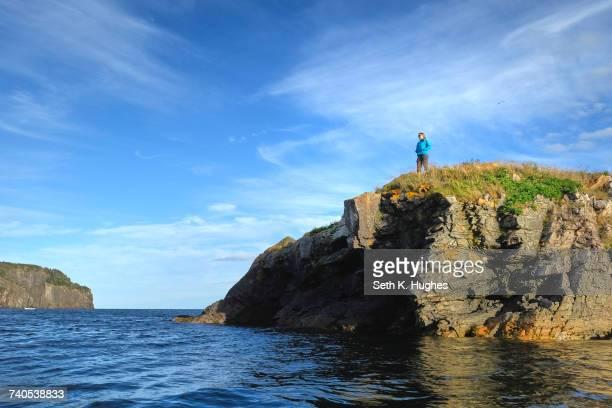 mid adult woman looking out from coastal cliff, st johns, newfoundland, canada - paisajes de st johns fotografías e imágenes de stock