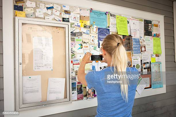 Mid adult woman photographing community notice board with smartphone