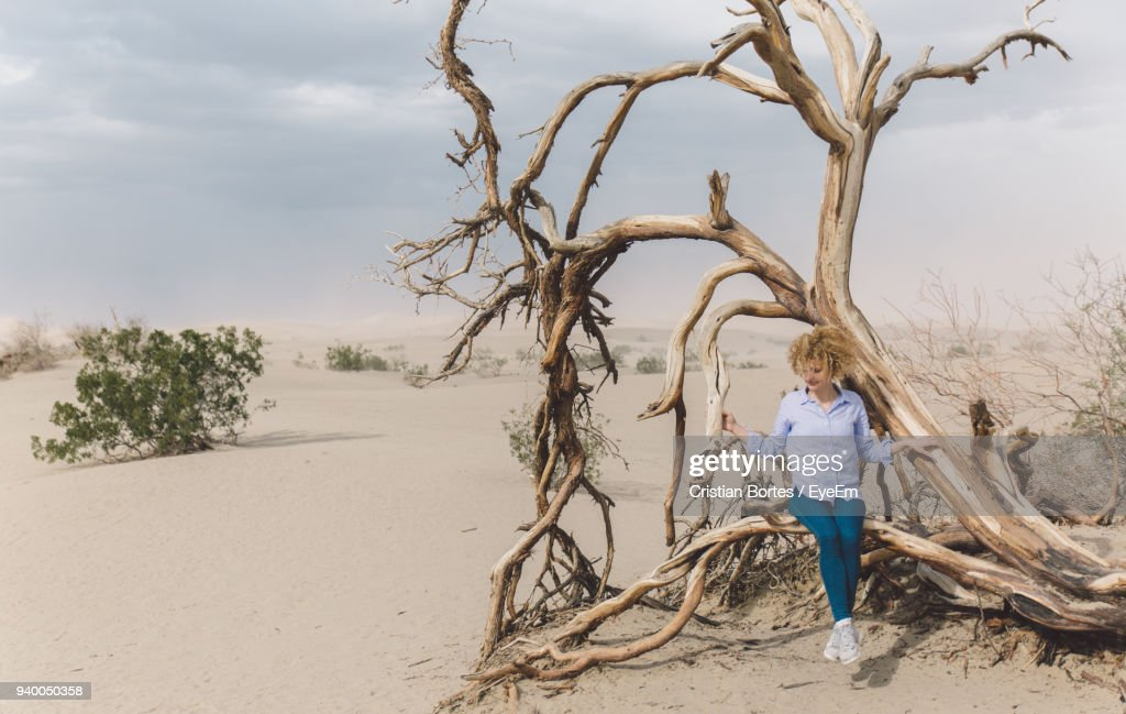Mid Adult Woman Sitting On Tree At Desert Against Sky : Stock Photo