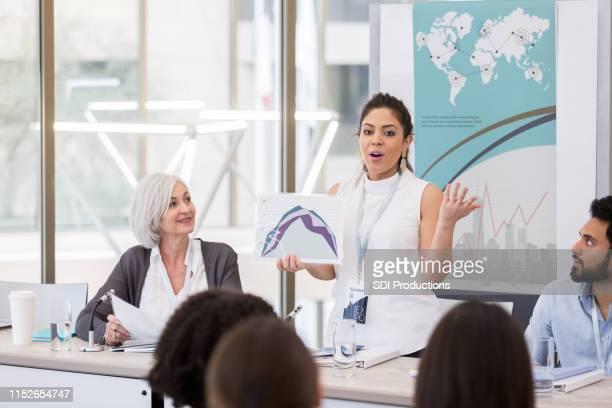 ミッドアダルト女性は、世界中の健康の結果を提示するグラフを使用します - パネル討論 ストックフォトと画像