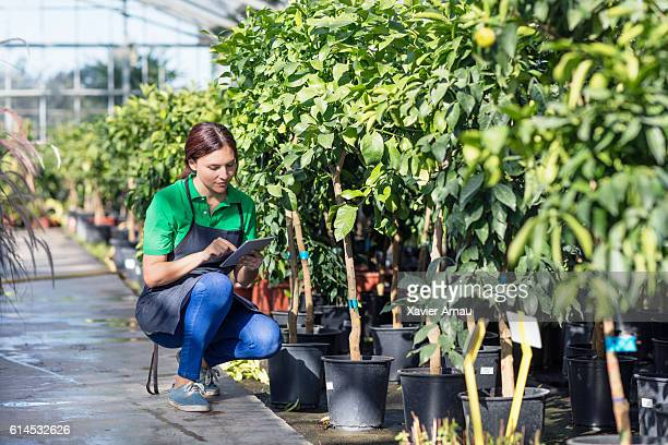 Mid adult woman working at garden center with digital tablet