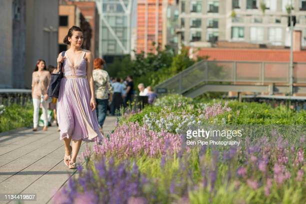 mid adult women walking through high line park, new york city - purple dress stock pictures, royalty-free photos & images