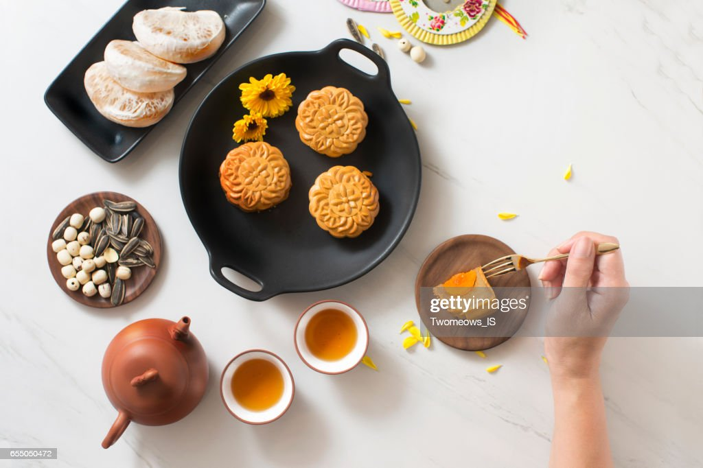 Mid autumn festival food and drink. : Stock Photo
