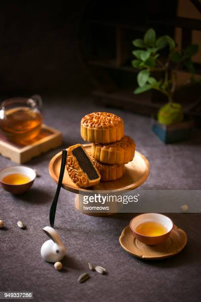 Mid autumn festival mooncake and tea still life.