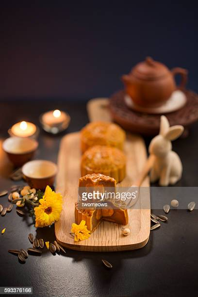 mid autumn festival table top shot. - moon cake stock pictures, royalty-free photos & images