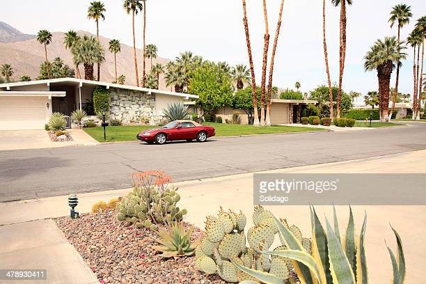 Mid Century California Neighborhood With Luxury Car