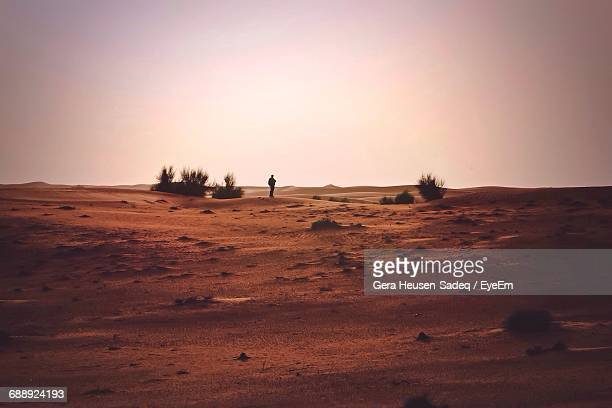 Mid Distance View Of Person Standing Against Clear Sky At Desert