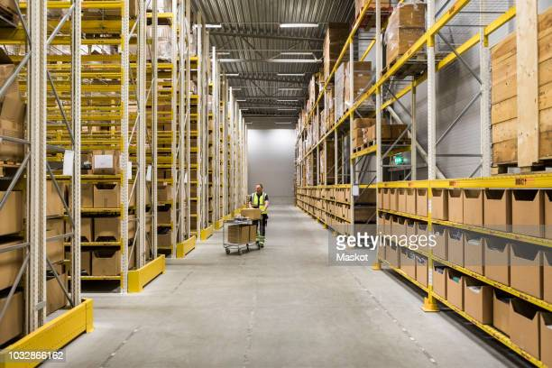 mid distance view of senior male worker pushing cart on aisle in warehouse - 倉庫 ストックフォトと画像