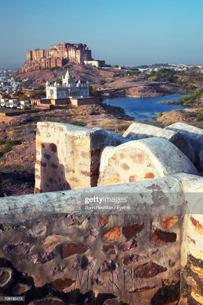 Mid Distant View Of Mehrangarh Fort And Jaswant Thada Against Clear Sky : Stock Photo