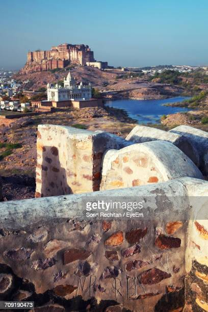 Mid Distant View Of Mehrangarh Fort And Jaswant Thada Against Clear Sky