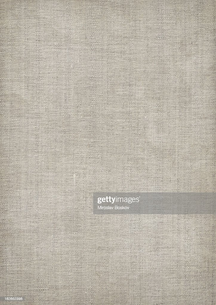 Mid gray linen textured fabric with visible weave : Stock Photo