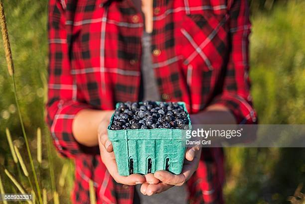 Mid section of woman holding punnet of blueberries