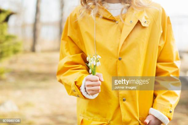 mid section of woman in yellow raincoat holding bunch of snowflakes flower - snowdrop stock pictures, royalty-free photos & images