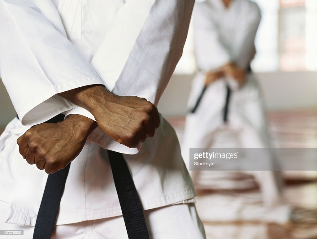 Mid section view of a man performing karate : Stock Photo
