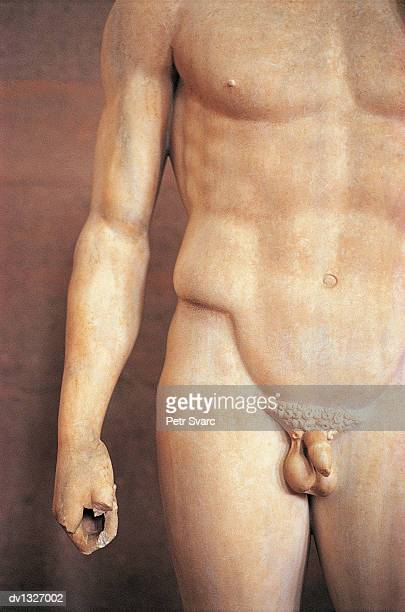 Mid Section View of a Naked Male Statue, Corinth, Greece