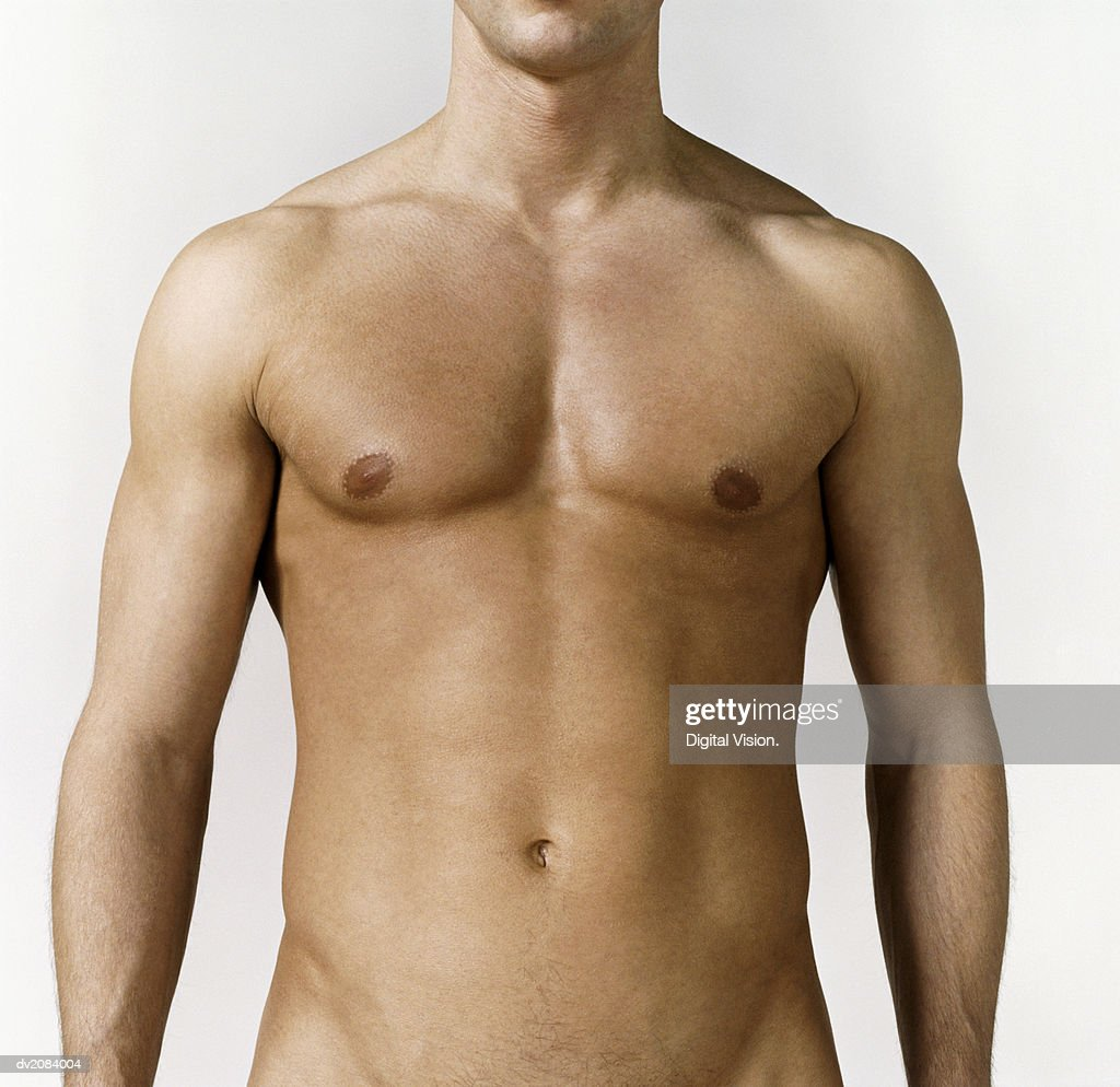 Mid Section View of a Naked Man's Stomach : Stock Photo
