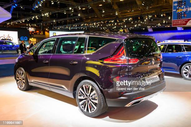 mid size luxury crossover people carrier on display at Brussels Expo on January 9 2020 in Brussels Belgium The Renault Espace V is available with...