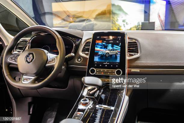 Mid size luxury crossover people carrier on display at Brussels Expo on January 9, 2020 in Brussels, Belgium. The Renault Espace V is available with...
